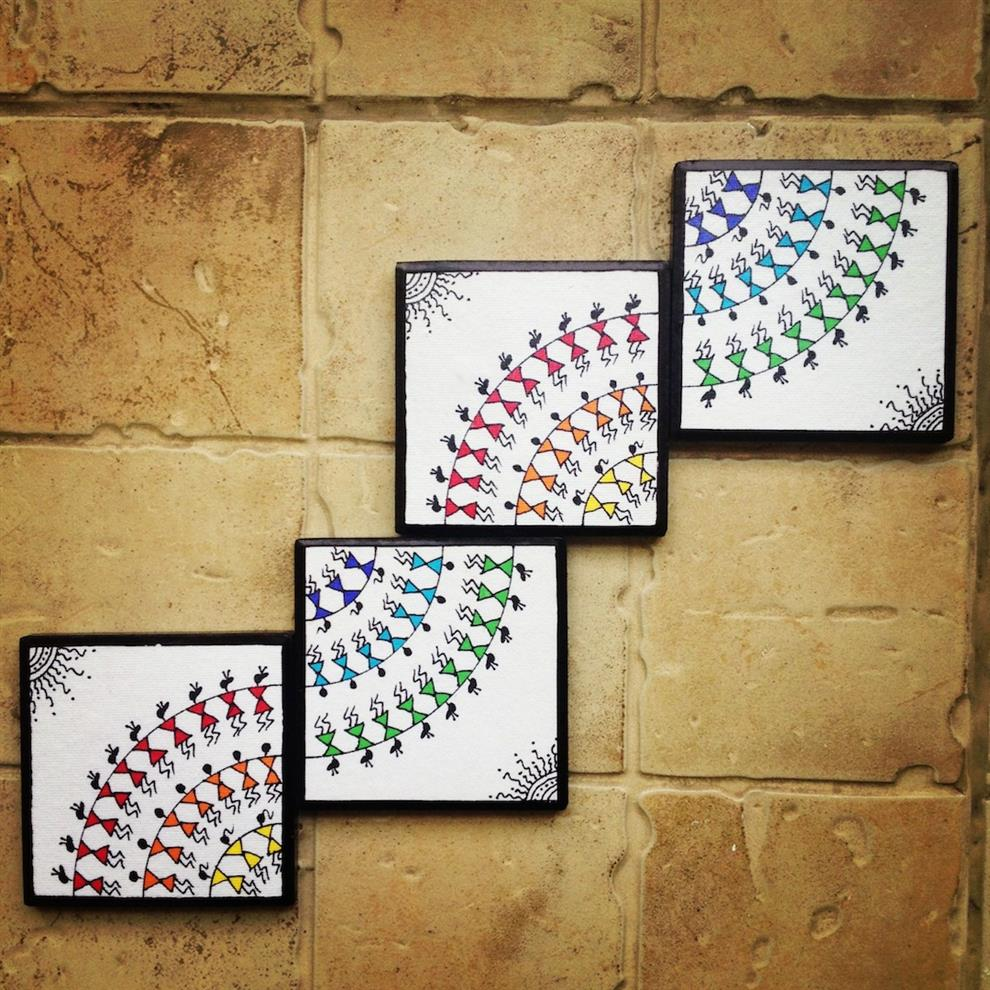 Colourful handmade, handpainted Warli Wall Art (Set of 4)- Buy ...