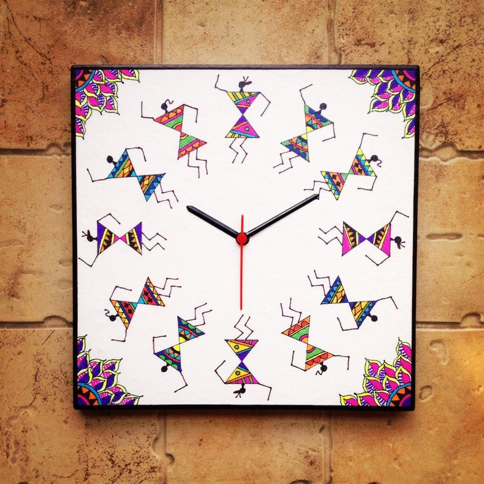 Colourful Handmade Hand Painted Warli Wall Clock In