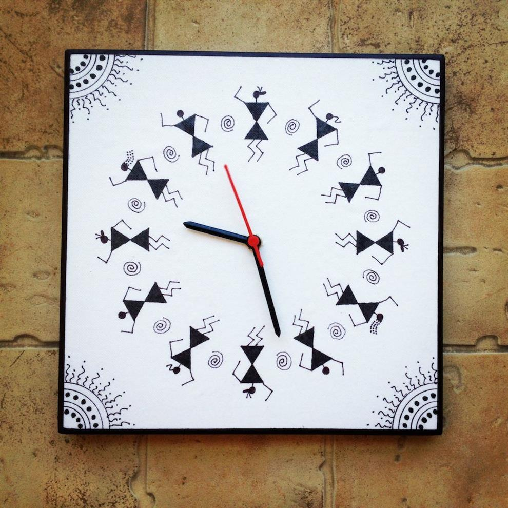 Black And White Handmade Hand Painted Warli Wall Clock