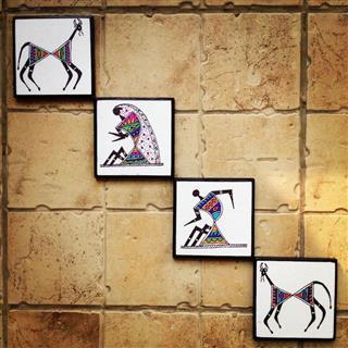 Colourful handmade handpainted Warli Wall Art Set of 4 Buy