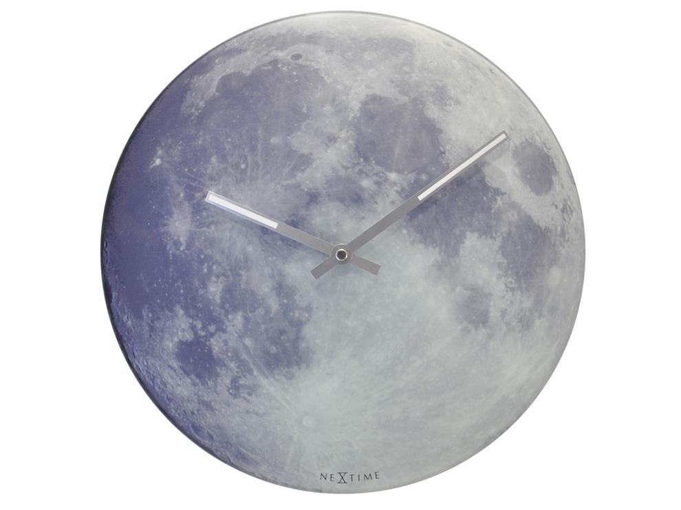 Nextime Blue Moon Glow In The Dark Glass Wall Clock Buy Nextime