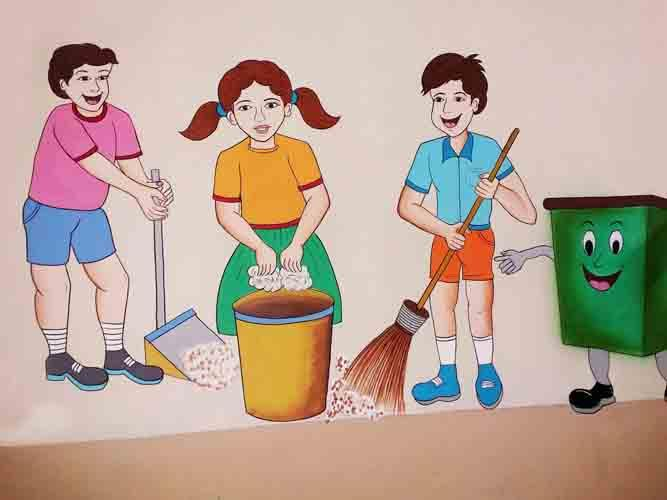 School Cartoom Painting Swachh Bharat Cartoons By S N Chauhan Mob