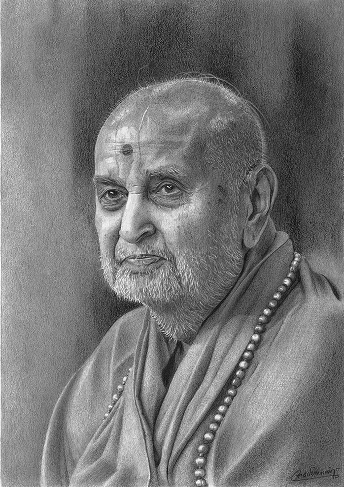 Sadashiv sawant portraits pramukh swami maharaj mumbai