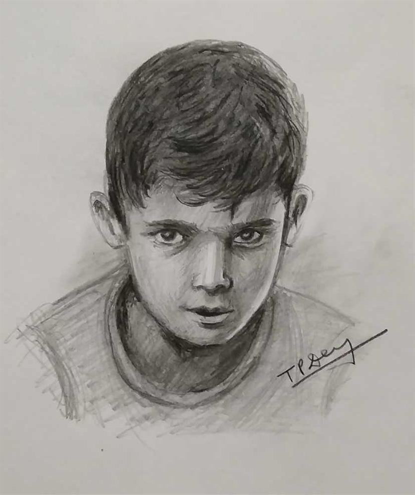 Portrait and sketch artist pencil sketch of a child by tripati