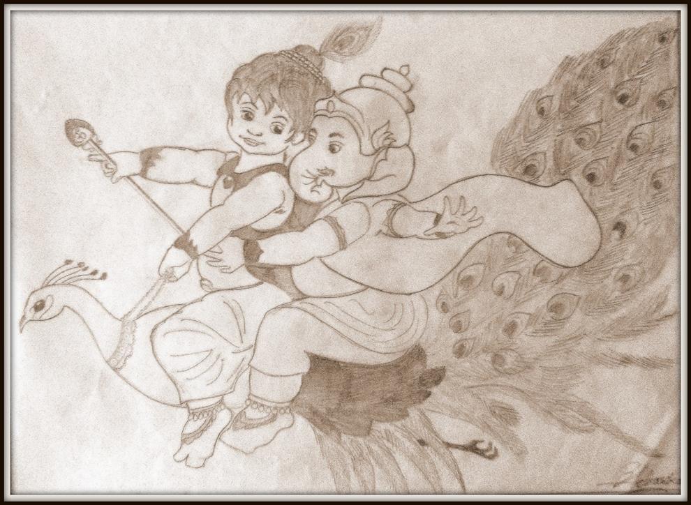 Prathamesh acharekar pencil sketches ganpati bappa morya