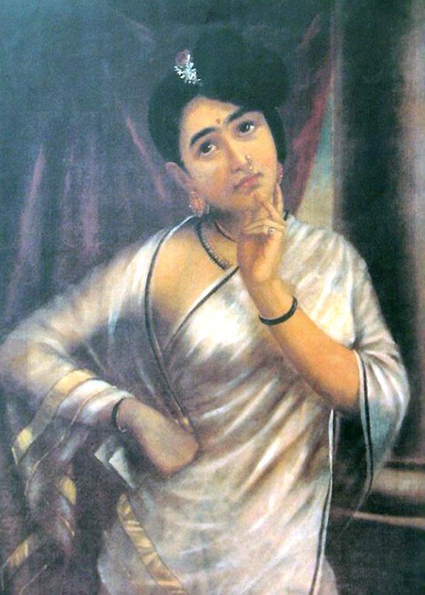 Raja Ravi Varma Paintings Woman In White Saree By Prawal