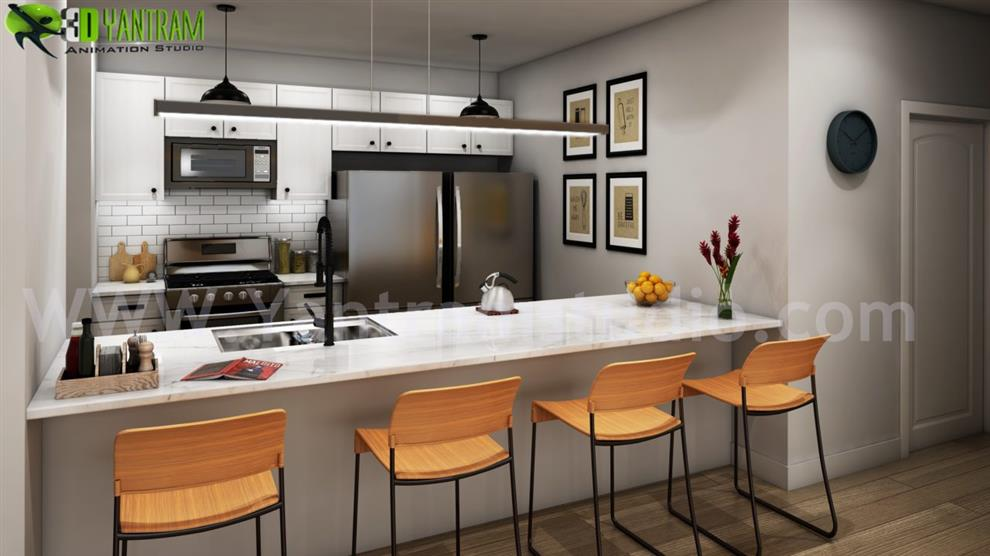 Modern Small Kitchen Rendering Ideas By Yantram Architectural