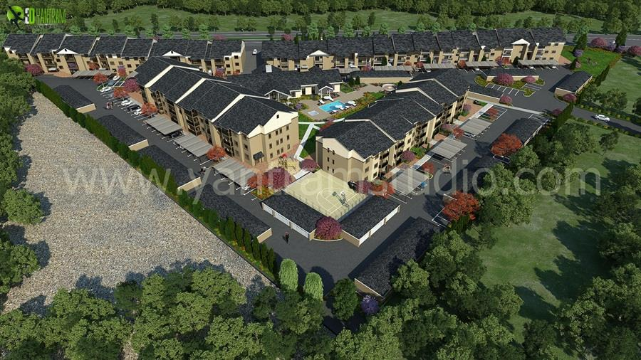 Residential Aerial Design View 3D Architectural Exterior By Yantram