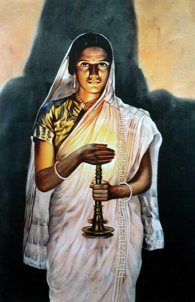 Raja Ravi Varma Paintings Lady With Lamp By Prawal