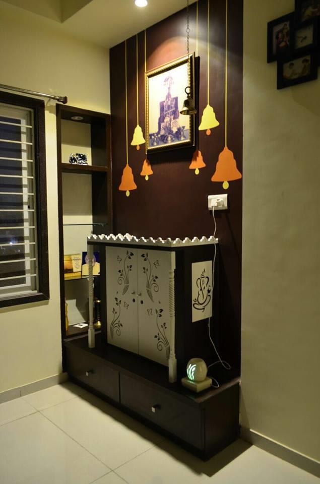 Dharmen Patel 3 BHK Residence Interior Pooja Room Gotri Vadodara