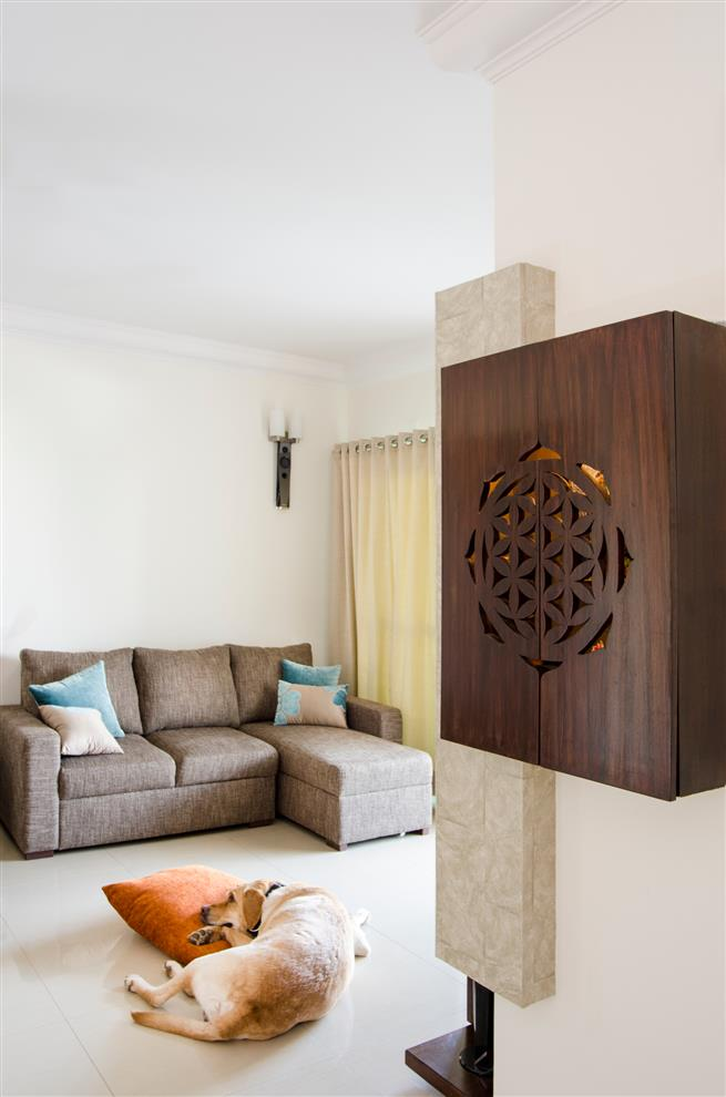 Tv Unit In Living Room: Style On A Budget-Pooja Unit/ Living Room By Poonam