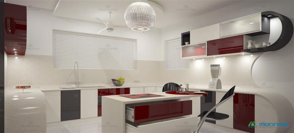 Monnaie Interiors Residential Project Of Mr Manoj Modular Kitchen Palakkad Kerala India