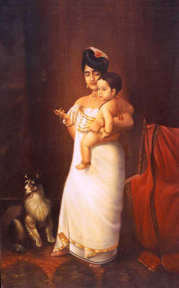 Raja Ravi Varma Paintings Lady With Child By Prawal