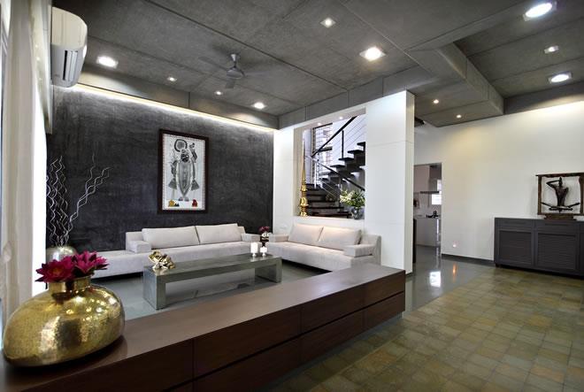 Dipen Gada THE CUBE HOUSE - Living Room - Vadodara