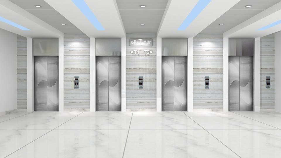 Manipal Old Airport Road Hospital-Lift Lobby by De panache