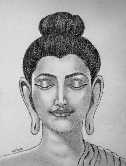 Sketches pencil graphite and charcoal buddha by madhurie