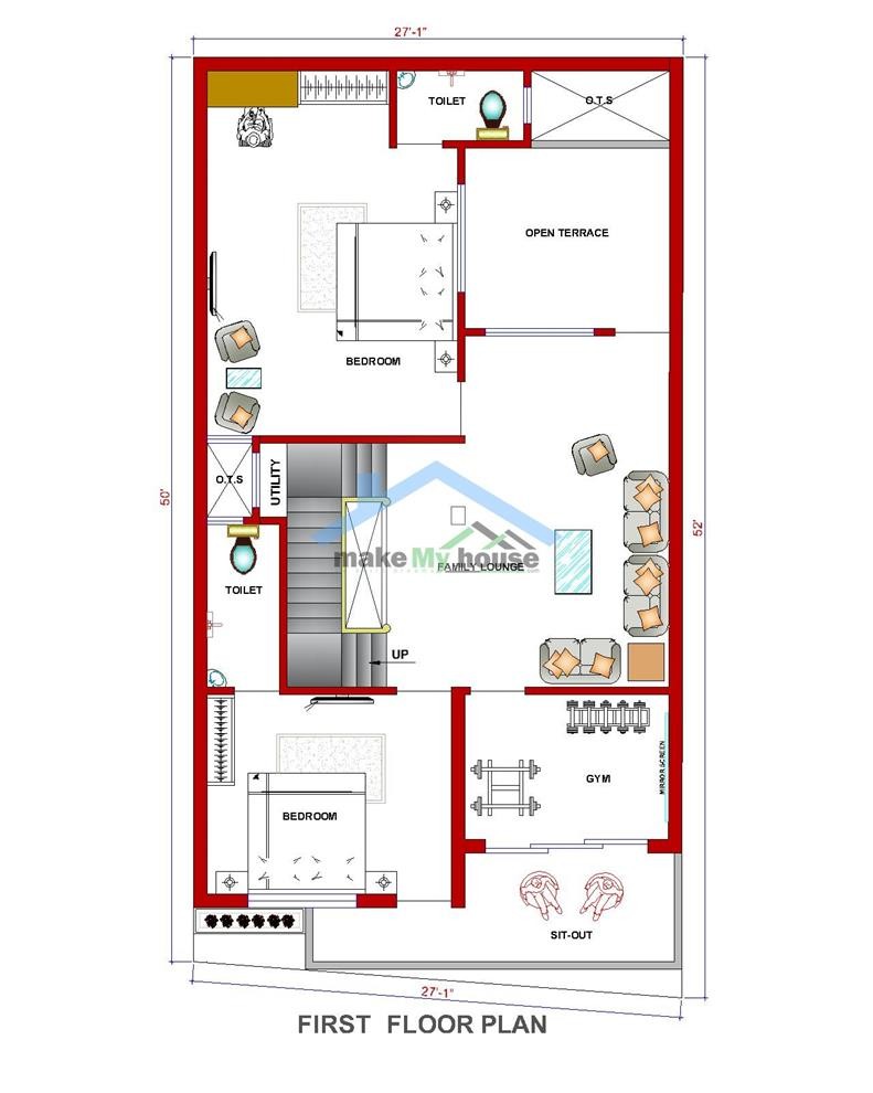 Make My House Online House Plan 26 50 House Design Plan 1300 Sqft Floor Plan South Facing First Floor Plan Online