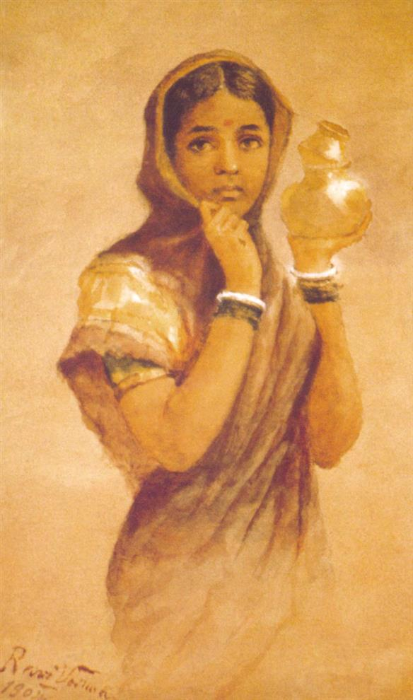 Raja Ravi Varma Paintings Milk Maid By Prawal