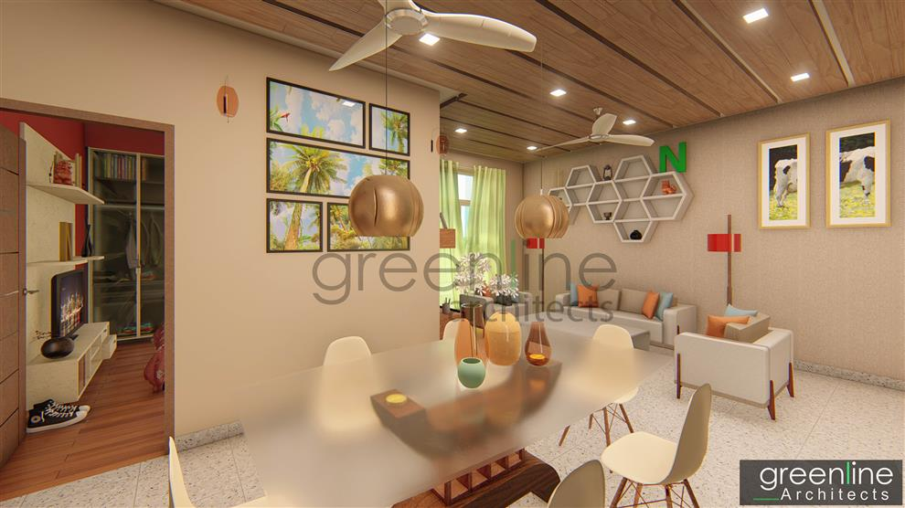 Greenline Architects Apartment Design Dining Hall Interior Lucknow
